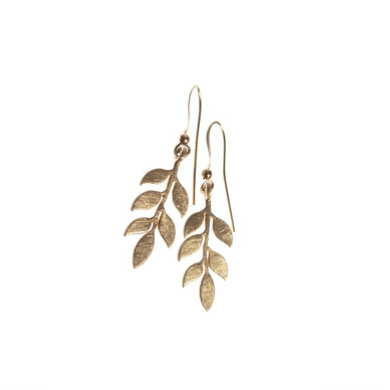 Hot Tomato Wisteria Leaf Matt Gold Earrings