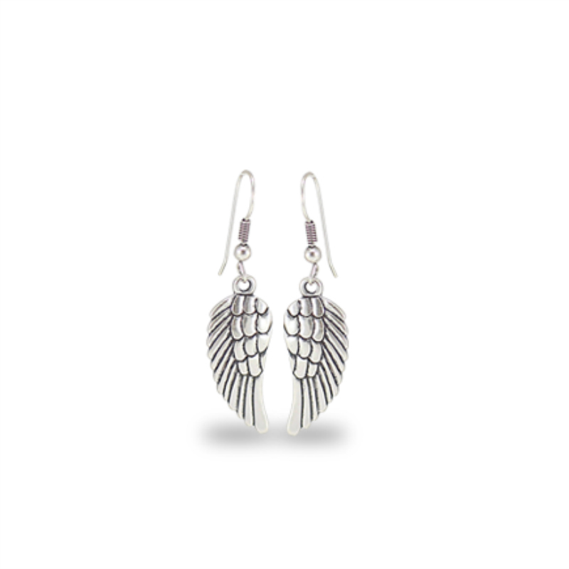 Danon Jewellery Silver Angel Wing Drop Earrings