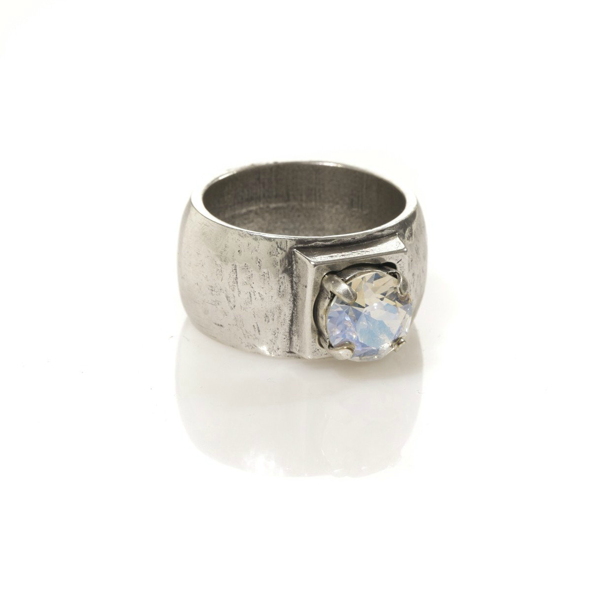 Danon Chunky Silver Ring with Crystal