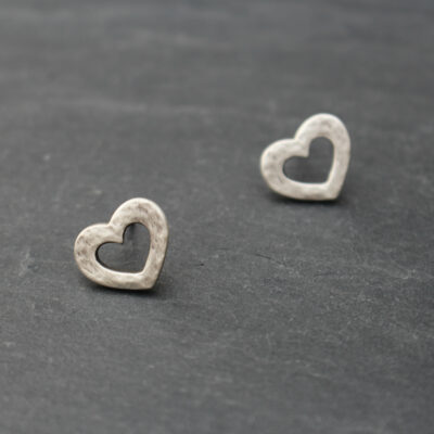 Danon Jewellery Hammered Matt Silver Open Heart Stud Earrings