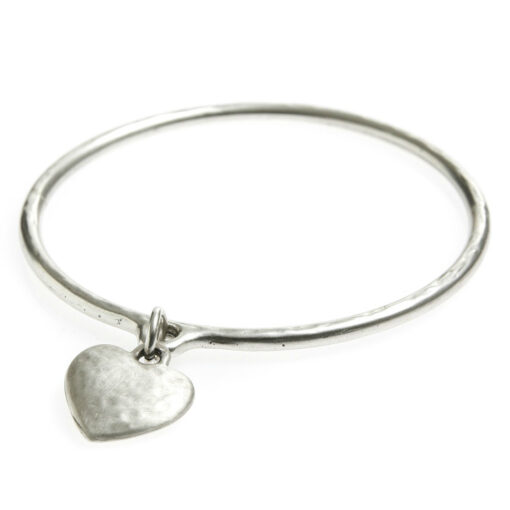 Danon-silver-hammered-heart-bangle-at-Birdhouse-Jewellery