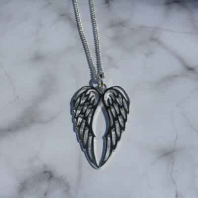 Birdhouse Jewellery Hot Tomato Long Angel Wing Silver Necklace Charm