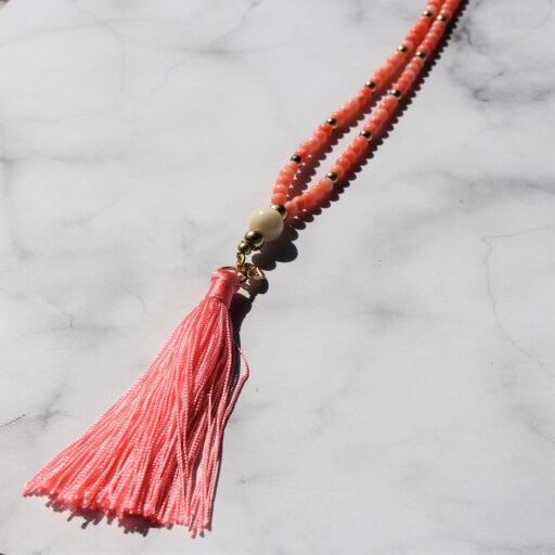 Birdhouse Jewellery Olia Long Coral beaded and tassel necklace