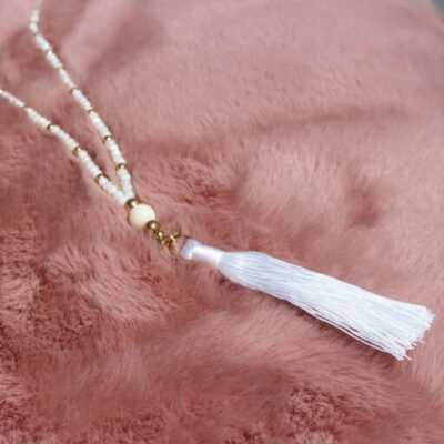 Birdhouse Jewellery Olia Long White beaded and tassel necklace
