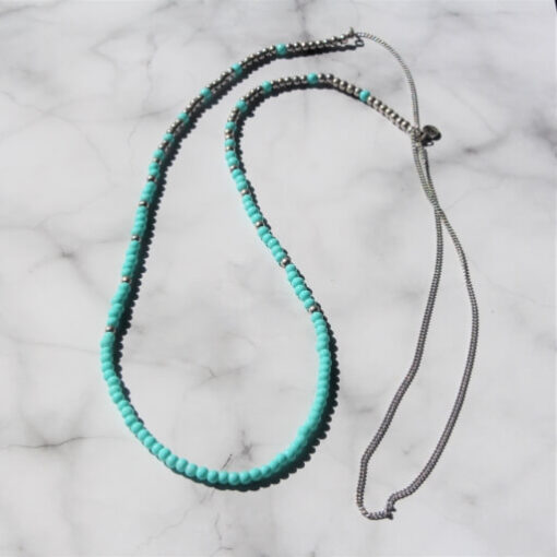 Birdhouse Jewellery Olia Long turquoise and silver beaded necklace