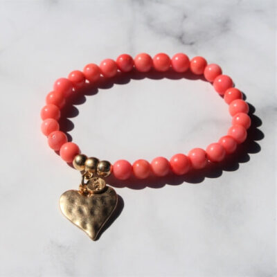 Birdhouse Jewellery Olia Minnie Coral Bracelet with Gold Heart