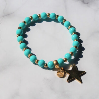 Birdhouse Jewellery Olia Minnie Turquoise Bracelet with gold Star