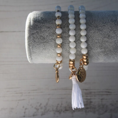 Birdhouse Jewellery Olia White Triple Stacking Bracelet set
