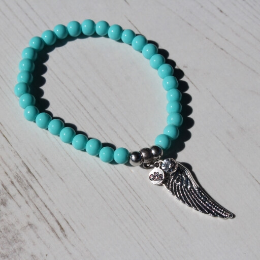 Birdhouse Jewellery Olia Turquoise bracelet with silver angel wing charm