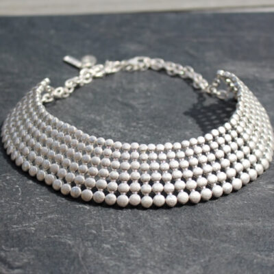 Nouv-Elle Aurora Silver Statement Collar Necklace