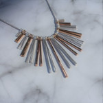 Nouv-Elle Lovell Rose Gold and Silver Fanned Statement Necklace