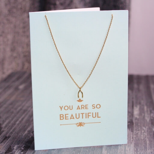Orelia You Are So Beautiful Wishbone Necklace Gift Card